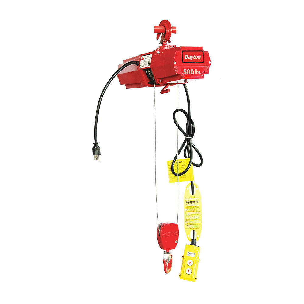 Electric Wire Rope Hoist 500 Lb Load Capacity 10 Ft Lift Fpm Speed Dayton Wiring Diagram Zoom Out Reset Put Photo At Full Then Double Click