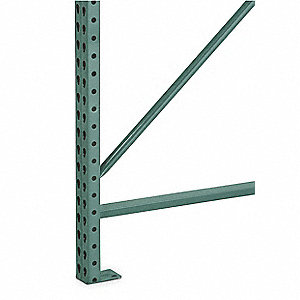 Steel Teardrop Pallet Rack Upright Frame with 25,040 lb. Load Capacity, Vista Green