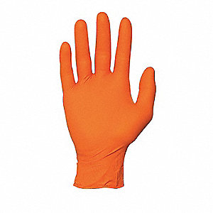 "10-1/2"" Powder Free Unlined Nitrile Disposable Gloves, Orange, Size  2XL, 100PK"