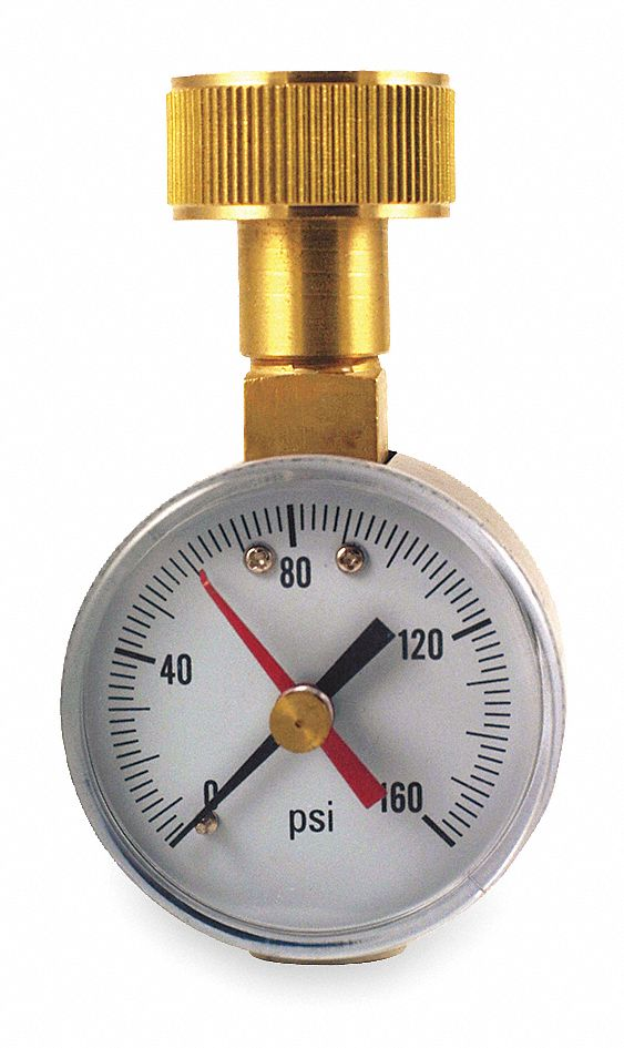Pressure Gauge,  0 to 160 psi Range,  3/4 in Female Garden Hose Thread,  +/-3-2-3% Gauge Accuracy