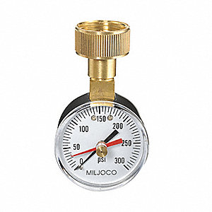 Pressure Gauge,Max. Reading,2 In