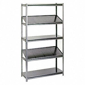 "Freestanding Boltless Shelving with Perforated Steel Decking, 5 Shelves, 36""W x 24""D x 78""H"