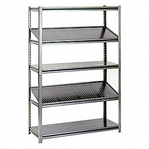 "48"" x 24"" x 78"" Steel Boltless Shelving Unit, Silver&#x3b; Number of Shelves: 5"