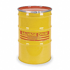 Salvage Drum,Open Head,55 gal.,Yellow