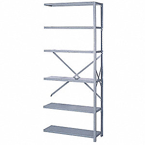 "Add-On Open Metal Shelving, 36""W x 12""D x 84""H, 8000 lb. Load Cap., 6 Shelves, Dove Gray"