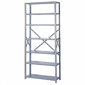 "Starter Open Metal Shelving, 36""W x 24""D x 84""H, 8000 lb. Load Cap., 7 Shelves, Dove Gray"