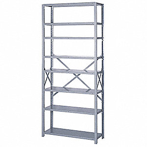 "Starter Open Metal Shelving, 36""W x 12""D x 84""H, 8000 lb. Load Cap., 8 Shelves, Dove Gray"