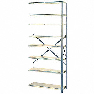 "Add-On Open Metal Shelving, 36""W x 12""D x 84""H, 8000 lb. Load Cap., 8 Shelves, Dove Gray"
