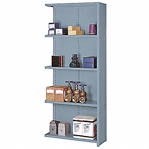 "Add-On Closed Metal Shelving, 36""W x 18""D x 84""H, 8000 lb. Load Cap., 5 Shelves, Dove Gray"