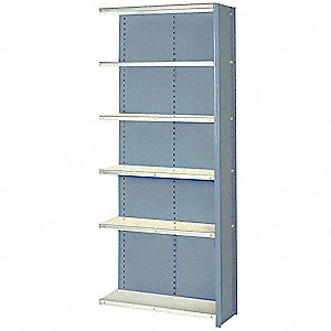 "Add-On Closed Metal Shelving, 36""W x 24""D x 84""H, 8000 lb. Load Cap., 6 Shelves, Dove Gray"