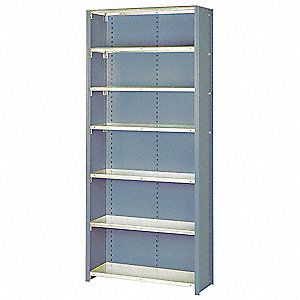 "Starter Closed Metal Shelving, 36""W x 12""D x 84""H, 8000 lb. Load Cap., 7 Shelves, Dove Gray"