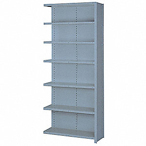 "Add-On Closed Metal Shelving, 36""W x 12""D x 84""H, 8000 lb. Load Cap., 7 Shelves, Dove Gray"