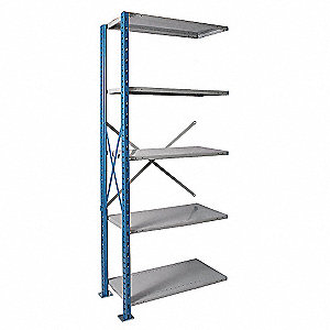 "Add-On Open Metal Shelving, 48""W x 24""D x 123""H, 4500 lb. Load Cap., 5 Shelves, Marine Blue/Light Gr"