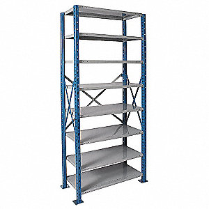 "Starter Open Metal Shelving, 48""W x 24""D x 87""H, 7200 lb. Load Cap., 8 Shelves, Marine Blue/Light Gr"