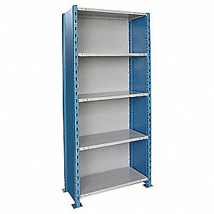 "Starter Closed Metal Shelving, 36""W x 18""D x 123""H, 4000 lb. Load Cap., 5 Shelves, Marine Blue/Light"