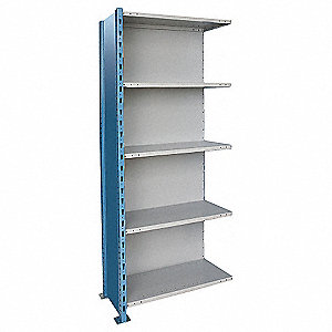 "36"" x 24"" x 123"" Add-On Steel Shelving Unit, Blue and Gray"