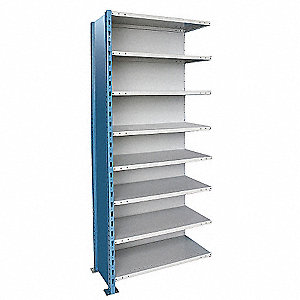"48"" x 24"" x 123"" Add-On Steel Shelving Unit, Blue and Gray"