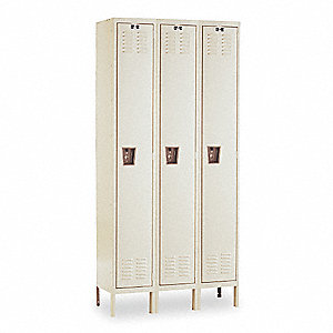 "Tan Wardrobe Locker, (3) Wide, (1) Tier Openings: 3, 54"" W X 18"" D X 78"" H"