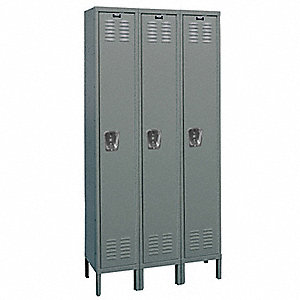 "Dark Gray Wardrobe Locker, (3) Wide, (1) Tier Openings: 3, 54"" W X 21"" D X 78"" H"