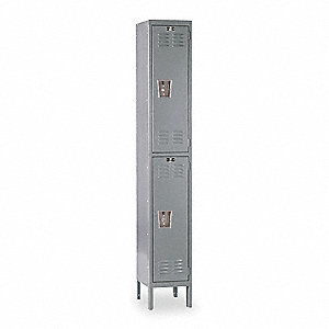"Gray Wardrobe Locker, (1) Wide, (2) Tier Openings: 2, 15"" W X 18"" D X 78"" H"