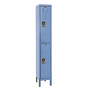 "Marine Blue Wardrobe Locker, (1) Wide, (2) Tier Openings: 2, 12"" W X 12"" D X 78"" H"