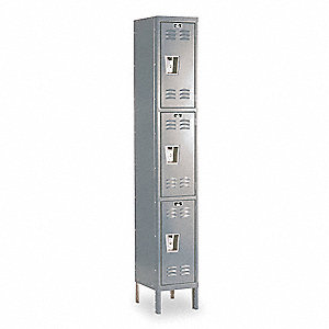 "Dark Gray Wardrobe Locker, (1) Wide, (3) Tier Openings: 3, 12"" W X 12"" D X 78"" H"