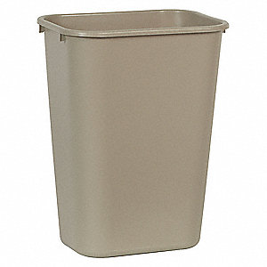 "10 gal. Rectangular Open Top Utility Trash Can, 19-7/8""H, Beige"