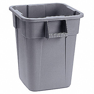 "BRUTE® 40 gal. Square Open Top Utility Trash Can, 28-3/4""H, Gray"