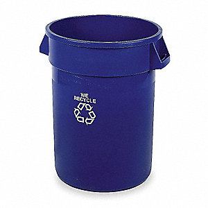 44 gal. Blue Stationary Recycling Container, Open Top