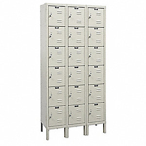 "Tan Box Locker, (3) Wide, (6) Tier , Openings: 18, 36"" W X 15"" D X 78"" H"