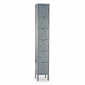Box Locker,Louvered,1 Wide, 6 Tier,Gray