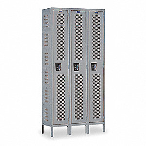 Wrdrb Lockr,Vent,3 Wide, 1 Tier,Gray