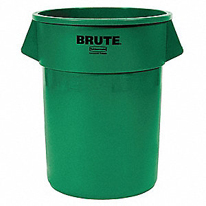 "BRUTE® 55 gal. Round Open Top Utility Trash Can, 33""H, Green"