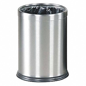 "Hide-A-Bag 3-1/2 gal. Round Open Top Decorative Wastebasket, 12-1/2""H, Silver"