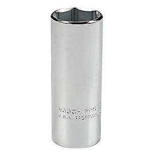"1-1/2"" Alloy Steel Socket with 1/2"" Drive Size and Chrome Finish"