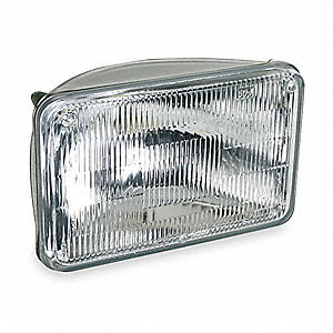50 Watts Halogen Sealed Beam Lamp, Rectangular, Slip-On Terminals, 3000K Bulb Color Temp.