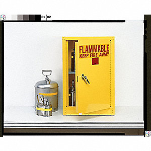 "23"" x 18"" x 35"" Galvanized Steel Flammable Liquid Safety Cabinet with Self-Closing Doors, Gray"