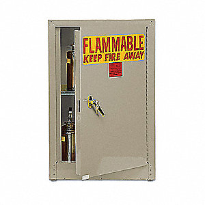 "17-1/2"" x 18"" x 22-1/2"" Galvanized Steel Flammable Liquid Safety Cabinet with Self-Closing Doors, Be"