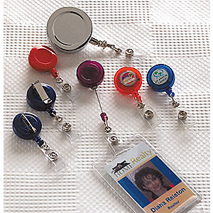 Badge Reel,Retractable,Black/Chrome,PK10