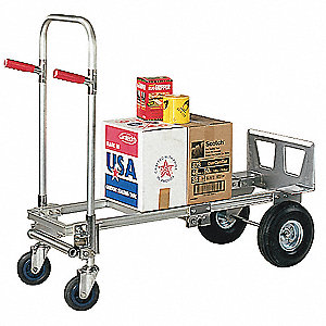 Convertible Hand Truck, Continuous Frame Dual Pin, 800 lb., Overall Height 52""