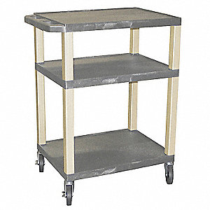 Lipped Thermoplastic Resin Flat Handle Utility Cart, 300 lb. Load Capacity, Number of Shelves: 3