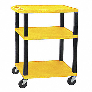 "24""L x 18""W Yellow Utility Cart, 300 lb. Load Capacity, Number of Shelves: 3"
