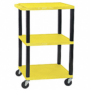 Thermoplastic Resin Utility Cart, 300 lb. Load Capacity, Number of Shelves: 3