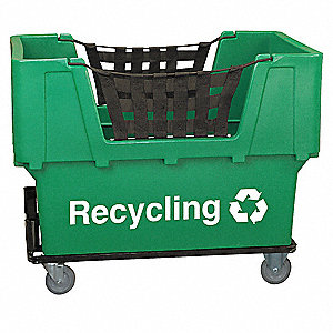 "Recycling Cart, 7/8 cu. yd. Volume Capacity, 1100 lb. Load Capacity, 31-1/2"" Overall Width"