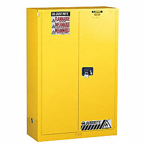 "43"" x 18"" x 65"" Galvanized Steel Flammable Liquid Safety Cabinet with Self-Closing Doors, Yellow"