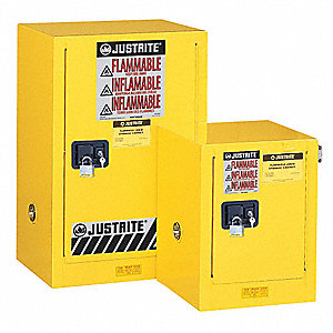 "23-1/4"" x 18"" x 44"" Galvanized Steel Flammable Liquid Safety Cabinet with Self-Closing Doors, Yellow"