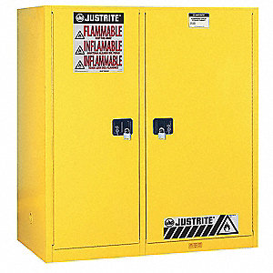"59"" x 34"" x 65"" Galvanized Steel Flammable Liquid Safety Cabinet with Self-Closing Doors, Yellow"