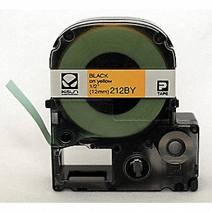 "Black on Yellow Polyester Cartridge Label, Indoor/Outdoor Label Type, 26 ft. Length, 1/2"" Width"