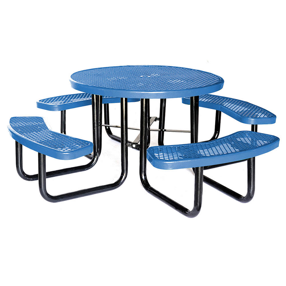 GRAINGER APPROVED Round Expanded Metal Picnic Table Blue HUP - Teal picnic table