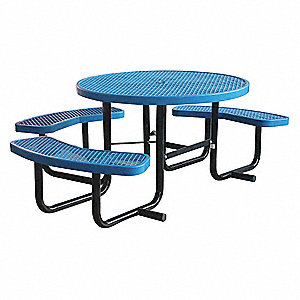 "63-1/2""D x 81""W Oval Expanded Metal ADA Picnic Table, Blue"